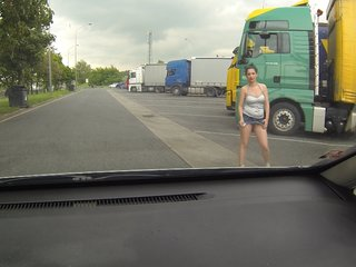 Real WHORE Picked up Between Trucks..
