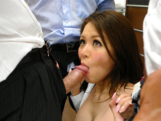 Office doll China Mimura  in gang-fuck