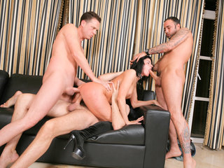 She gets all three her holes in use