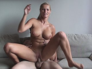 Horny blonde with amazing tits in..