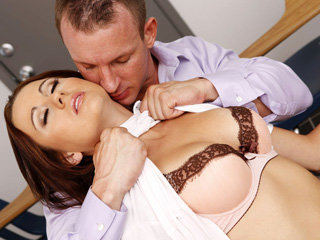 Innocent schoolgirl Mae Meyers takes the hard cock of their principal